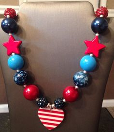 Hearts for you bubblegum bead necklace on Etsy, $15.00  4th of July is next week so all of my red, white, and blue necklaces are marked down!  Some are almost half off!  Great deals!!!! Get this before they are gone!!!