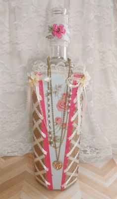 Shabby Chic Bottle, Altered Bottle, Decorated Bottle, Corset, Valentines gift, wedding gift, gift idea, decorated wine bottle by LilCraftFactory on Etsy