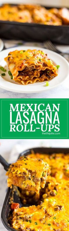 Mexican Lasagna Roll-ups are a delicious combination of two family favorites: Lasagna and Tacos. This is an easy recipe featuring meat, cheese, beans, corn, tomatoes and rolled up in lasagna noodles. They're total comfort food and great for when you're co