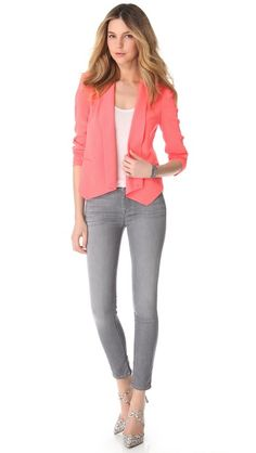 7 For All Mankind The Skinny Jeans light grey + coral