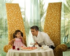 Maxime Luvara, Executive Chef at Burj Al Arab, enjoying Pink Afternoon Tea with his daughter