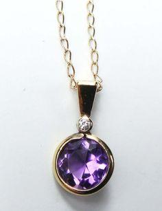 Vintage 14k Amethyst Diamond Necklace Vintage by BelmarJewelers