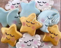 Blue and Gold Twinkle Twinkle Little Star Sugar Cookies (1 dozen)