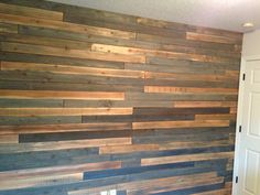 Lumber wall in my sons room. Took Cedar wood and stained it different levels of grey and hung on the wall :)