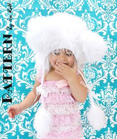 Polar Bear Bonnet Hat - Crochet PDF Pattern - Original design by Ira Rott.  $6.50 CAD