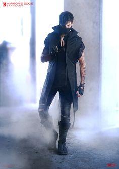 """Mirror's Edge: Catalyst"" - Black November Fighter - Concept Art, Per Haagensen Mode Cyberpunk, Cyberpunk Fashion, Steampunk Fashion, Gothic Fashion, Gothic Steampunk, Steampunk Clothing, Male Character, Character Outfits, Mirrors Edge Catalyst"