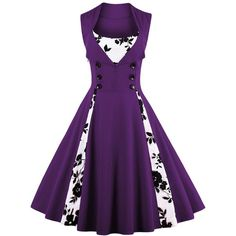 Vintage Floral Prom Swing Dress ($21) ❤ liked on Polyvore featuring dresses, rosegal, purple swing dress, floral dresses, floral-print dresses, purple floral dresses and floral print prom dresses