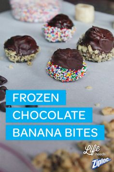 Super easy (and super good)! Just cut peeled bananas into 1-inch slices and freeze on a baking sheet for a few hours. Then, melt chocolate in the microwave and coat the banana slices. Top with sprinkles, shredded coconut, or chopped nuts and re-freeze. TIP: Use a Ziploc® bag to crush nuts mess-free.
