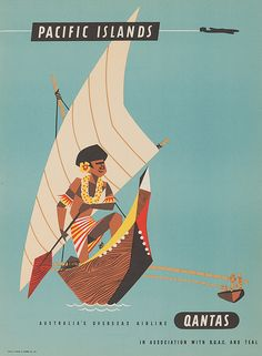 Mood Board Inspiration# RETRO Illustrations # Qantas Vintage Poster - Pacific Islands