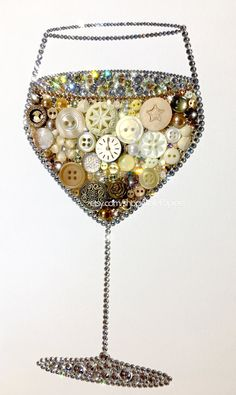 White Wine Art | Wine Decorations | Chardonnay Gifts | Button Art Wine | Button Canvas White Wine | Wine Rack Decor | Kitchen Art Wine  Each White Wine Glass is mounted to an Ampersand Hardbord that is 1/8 thick, & will arrive to you unframed in a cellophane sleeve - packed with care. The white wine glass in the example photo is an 8x10 - if youd like a different size, please message me :) To see three videos of three different White Wine Glass pieces sparkle in action, visit these l...