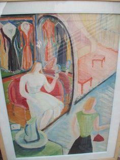 DONNA CON SPECCHIO IN MANO DI GIACOMO CARAMEL - ITALY www.antichitapietrolupi.com