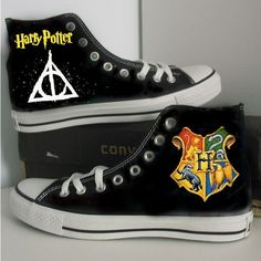 Harry Potter/Badge/Custom/converse/hand painted shoes/canvas shoes ($79) ❤ liked on Polyvore featuring shoes, canvas shoes, canvas footwear, converse footwear and converse shoes