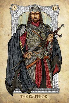 Tarot: The Emperor by ~SceithAilm. A set of Tolkien-themed Tarot cards. Legolas, Aragorn, Gandalf, The Emperor Tarot, Art Carte, O Hobbit, Tarot Major Arcana, Jrr Tolkien, Tarot Decks