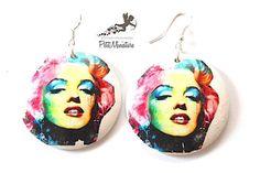 Orecchini in Legno-Pop Art-Marilyn di PetitMiniatures su Etsy