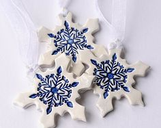 Delft blue ceramic Christmas ornaments winter home decoration gift Set of 3