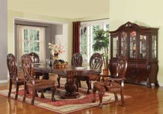 Acme Furniture   Quinlan 7 Piece Dining Table Set In Cherry   60265 7SET