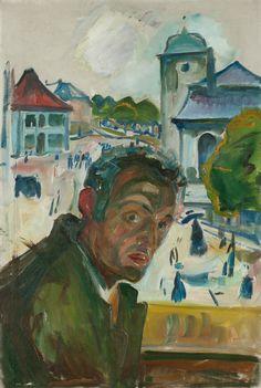 """""""Selvportrett i Bergen"""" (Self-Portrait in Bergen; 1916), by Edvard Munch. Oil on canvas; Munch-museet, Oslo."""
