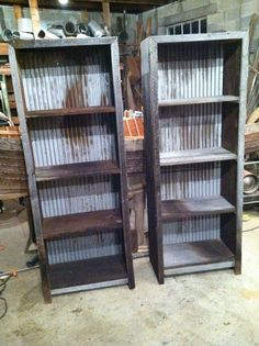 Barn wood and corrugated metal book shelves