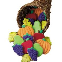 A cornucopia of fall forms, these cookies will be a hit at any autumn event. Use our leaf, pumpkin and fruit cutters to form the cookies; decorate the seasonal shapes with Color Flow Icing.