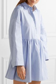 Sky-blue cotton-poplin, white broderie anglaise cotton Button fastenings along front, ties at back 100% cotton Machine wash Designer color: OfficeSmall to size. See Size & Fit notes.