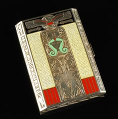 Art Deco Sterling Silver and Guilloché Enamel  Cigarette Case with Etched Egyptian Motif,  Austria, Circa 1920.