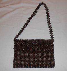 VINTAGE WALBORG WOODEN BROWN BEAD BEADED SHOULDER BAG PURSE #Walborg #ShoulderBag