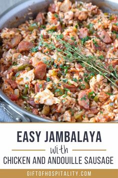 This simple jambalaya recipe is filled with chicken, andouille sausage, and Cajun flavor. It's perfect for a chilly evening! #cajunrecipe #jambalaya #andouillesausage Chicken And Sausage Jambalaya, Jambalaya Recipe, Sausage And Peppers, One Pan Meals, Cajun Seasoning, Cajun Recipes, Stuffed Green Peppers, How To Cook Chicken, Food Food