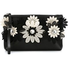 Emanuel Ungaro Appliqué Flower Clutch (5.212.220 IDR) ❤ liked on Polyvore featuring bags, handbags, clutches, bags and purses, purses, black, handbag purse, leather clutches, leather man bags and real leather purses