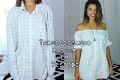 Transformando camisa masculina em vestido ou blusa   CUSTOMIZAÇÃO DE CAM...