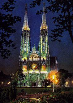 The Votive Church at Night, Vienna, Austria