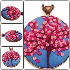 Tree of life polymer applique necklace, cherry blossom pendant with vibrant blue background, nature inspired pendant, bohochic clay charm, $30, Charms4Now.etsy.com