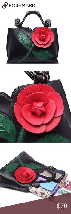 "🆕 Unique Black Flower Purse Brand new. Comes with removable shoulder strap. Measures 14.1"" wide x10.2"" high x5.5"" deep. Bags Shoulder Bags"