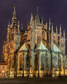 St.  Veit  Cathedral  Prague  Czech  Republic Cathedral Basilica, Cathedral Church, Prague Cathedral, Prague Castle, Places To Travel, Places To Go, Monuments, Visit Prague, Prague Travel