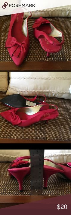 Touch of Nina REd Satin Kitten Heels Touch of Nina Red Satin Kitten Heels with bows, Worn once Nina Shoes Heels
