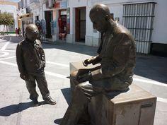 Statue of José Saramago. Conil de la Frontera, Cadiz, Spain.