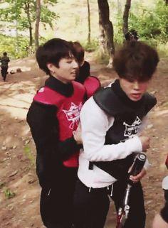 Jimin + Jungkook                                        JiKook fans, calm down. ^_^                  Jimin: *glaring* *mine* XD       gosh, ...