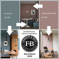 Farrow and Ball colours for De Nimes No. 299 Sulking Room Pink No. 295 Why not specify a radiator, bath or furniture in a special custom colour for your n. Bathroom Paint Colors, Paint Colors For Home, House Colors, Hallway Paint Colors, Paint Colours, Farrow And Ball Living Room, Farrow And Ball Paint, Farrow Ball, Bathroom Furniture
