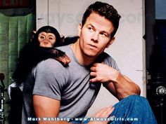 Mark Wahlberg with a monkey . . . this seems so ridiculous to me?:)