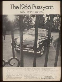 Volkswagen Karmann-Ghia Pussycat Advertisement, SUITABLE FOR: Tom Jones, NOT SUITABLE FOR: Russ Meyer