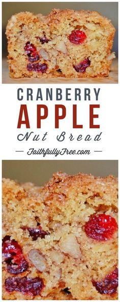 Cranberry-Apple-Nut Bread I am so glad that I came across this Cranberry-Apple-Nut Bread recipe. Every week I look at the cranberry bakery bread in the Publix ad - Cranberry-Apple-Nut Bread Recipe Apple Nut Bread Recipe, Cranberry Nut Bread, Cranberry Recipes, Apple Loaf, Healthy Nut Bread Recipe, Paleo Apple Recipes, Cranberry Dessert, Healthy Breads, Cranberry Sauce