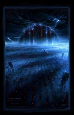 The fetus fields are field upon field of synthetically grown human babies which are gathered and transferred by harvester machines to the power plant as older humans die off or are ejected from there. The fetuses are maintained in their pods by small spider-like machines, while the Harvesters maintain the fields; attacking intruders and disposing of dead fetuses in giant waste funnels which feed into the cold, lifeless world of the tunnels: the remains of the human cities' sewer systems.