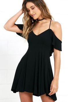Lifetime of Love Black Backless Skater Dress at Lulus.com!