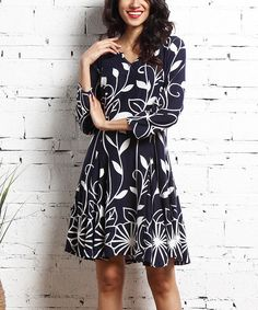 Navy & White Floral Notch Neck Dress. Love how classy this looks