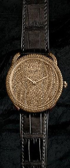 Diamond Watches Ideas : Hermes - Watches Topia - Watches: Best Lists, Trends & the Latest Styles Hermes Watch, Jewelry Accessories, Fashion Accessories, Timex Watches, Black Gold Jewelry, Luxury Watches, Cool Watches, Jewelry Watches, Jewels