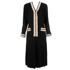 Chanel Black dress with white crochet trim 1990s at 1stdibs