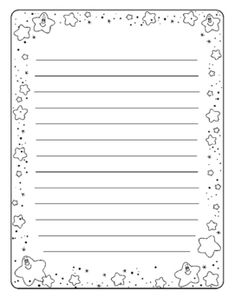 Writing Paper with Star Border by Doshi Designs Printable Lined Paper, Free Printable Stationery, Borders For Paper, Journal Paper, Bullet Journal Ideas Pages, Writing Paper, Note Paper, Coloring Pages, Lettering