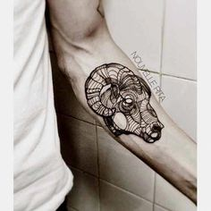 50 Best Aries Tattoos Designs And Ideas With Meanings Arm Tattoo, Head Tattoos, Body Art Tattoos, Sleeve Tattoos, Cool Tattoos, Tattoo Linework, Aries Ram Tattoo, Horoscope Tattoos, Zodiac Sign Tattoos