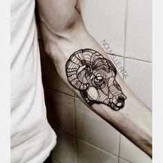 50 Best Aries Tattoos Designs And Ideas With Meanings Arm Tattoo, Tattoo Arm Mann, Head Tattoos, Body Art Tattoos, Sleeve Tattoos, Cool Tattoos, Tattoo Linework, Aries Ram Tattoo, Horoscope Tattoos