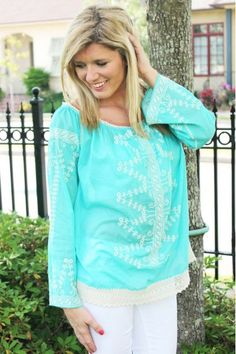 MISSY ROBERTSON Clothing Line at HerringStone's! Turquoise Voile Top