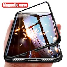 87dd278949 360 Magnetic Adsorption Case for iPhone X 8 Plus 7 6 6S Tempered Glass Back  Cover for iPhone 7 8 6 6S Plus X Metallic Hard Case